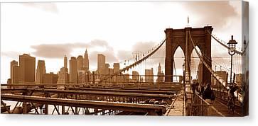 Brooklyn Bridge In Sepia Canvas Print by Paul Van Baardwijk