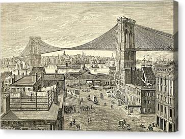 Brooklyn Bridge, New York, United States Of America In The 19th Century Canvas Print by American School