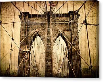 Brooklyn Bridge Nostalgia Canvas Print by Jessica Jenney