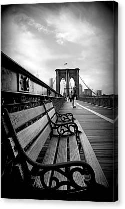 Brooklyn Bridge Promenade Canvas Print by Jessica Jenney