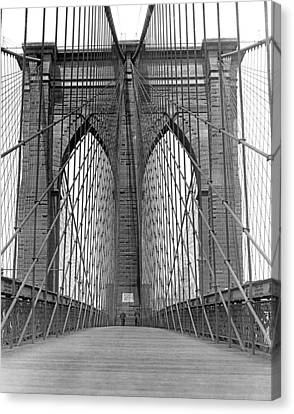 Brooklyn Bridge Promenade Canvas Print by Underwood Archives