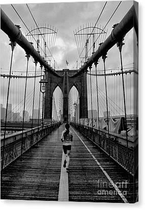 Brooklyn Bridge Runner Canvas Print by Bob Stone