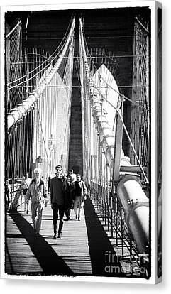 Brooklyn Bridge Shadows 1990s Canvas Print by John Rizzuto