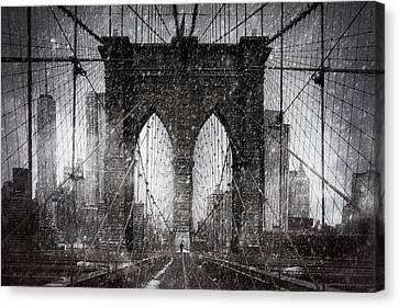 Brooklyn Bridge Snow Day Canvas Print
