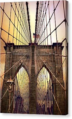 Brooklyn Bridge Sunrise Canvas Print by Jessica Jenney