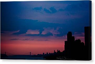 Brooklyn Bridge Sunrise Canvas Print by Sara Frank