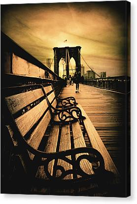 Brooklyn Bridge Sunset Canvas Print by Jessica Jenney