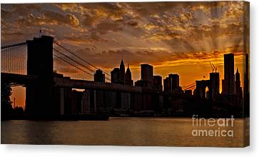 Brooklyn Bridge Sunset Canvas Print by Susan Candelario