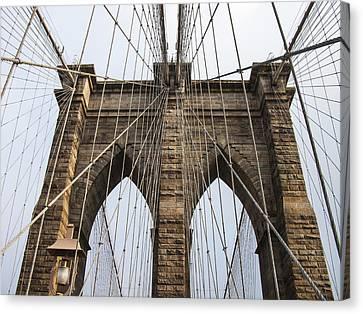 Brooklyn Bridge Tower Canvas Print by Frank Winters