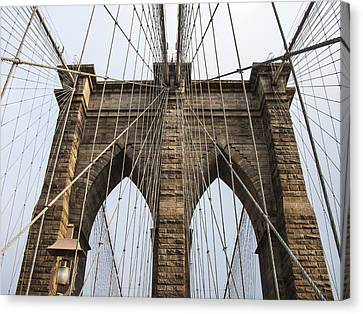 Brooklyn Bridge Tower Canvas Print by Frank Winters