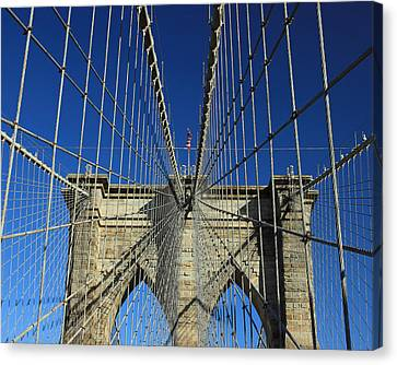 Canvas Print featuring the photograph Brooklyn Bridge Tower by Jose Oquendo