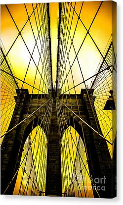 Brooklyn Bridge Yellow Canvas Print by Az Jackson