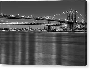 Blue Hour Canvas Print - Brooklyn Manhattan And Williamsburg Bridges Nyc Bw by Susan Candelario