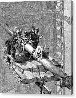 Brooklyn Suspension Bridge Canvas Print by Universal History Archive/uig