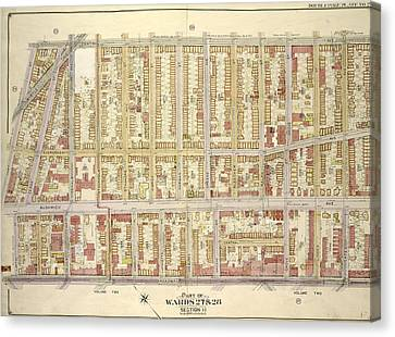 Brooklyn, Vol. 3, Double Page Plate No. 27 Part Of Wards 27 Canvas Print by Litz Collection