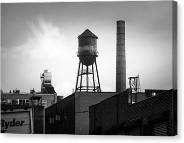 Canvas Print featuring the photograph Brooklyn Water Tower And Smokestack - Black And White Industrial Chic by Gary Heller