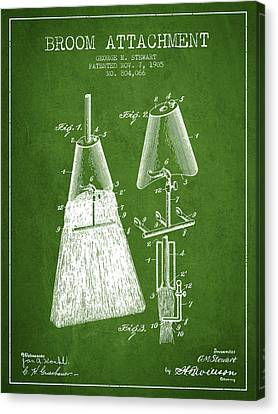 Broom Attachment Patent From 1905 - Green Canvas Print by Aged Pixel