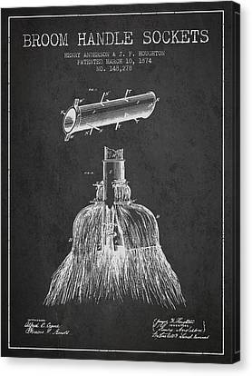 Broom Handle Sockets Patent From 1874 - Charcoal Canvas Print by Aged Pixel