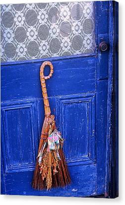 Canvas Print featuring the photograph Broom On Blue Door by Rodney Lee Williams