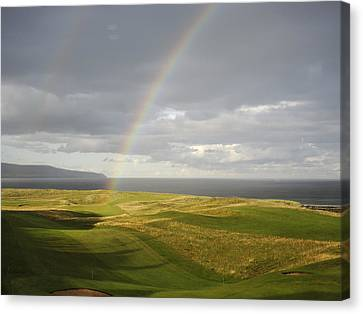 Brora Golf Course Rainbow Canvas Print by Sally Ross