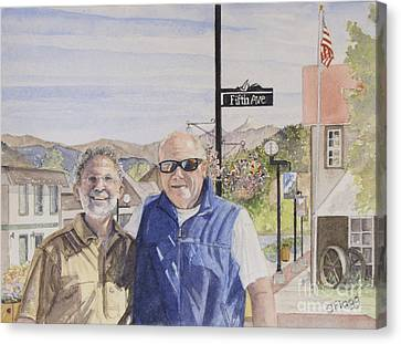 Canvas Print featuring the painting Bros by Carol Flagg