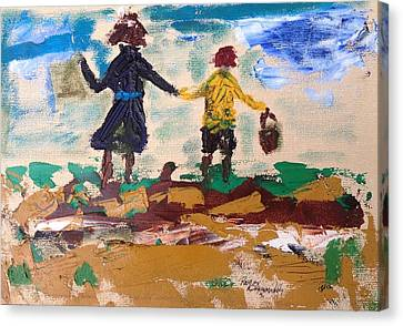Brother And Sister Playing In The Field. Canvas Print by Roger Cummiskey