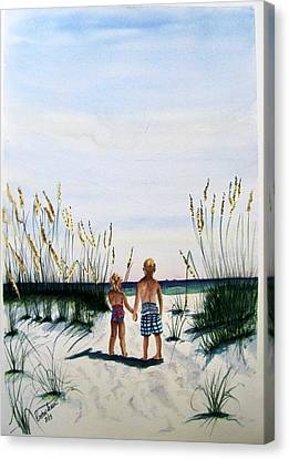 Canvas Print featuring the painting Brother Sister On Beach Sold by Richard Benson