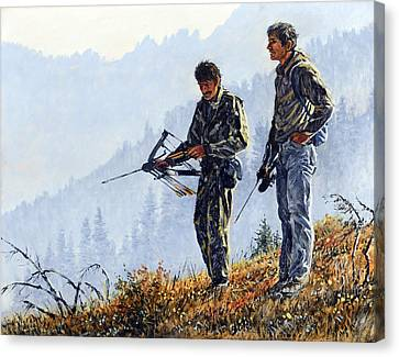 Canvas Print featuring the painting Brothers by Steve Spencer