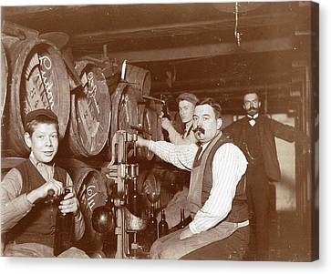 Cork Canvas Print - Brouwer And Clerks In Wine Barrels And A Corking Machine by Artokoloro