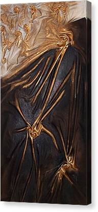 Canvas Print featuring the mixed media Brown And Gold by Angela Stout