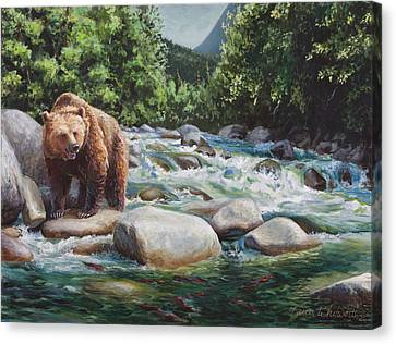 Brown Bear On The Little Susitna River Canvas Print by Karen Whitworth