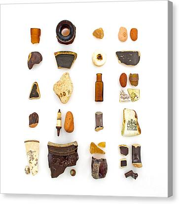 China Beach Canvas Print - Brown China And Amber Sea Glass by Jennifer Booher