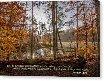 Brown County State Park Nashville Indiana Biblical Verse Ogle Lake Jeremiah  Canvas Print by David Haskett