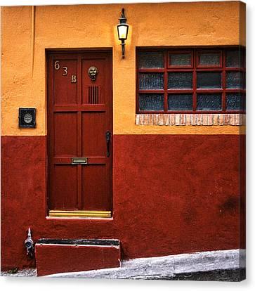 San Miguel De Allende Canvas Print - Brown Door In Mexico by Carol Leigh