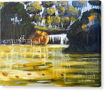 Brown Ducks Near The Waterfall Canvas Print by Pamela  Meredith