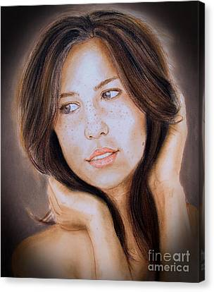 Brown Haired And Lightly Freckled Beauty Fade To Black Version Canvas Print by Jim Fitzpatrick