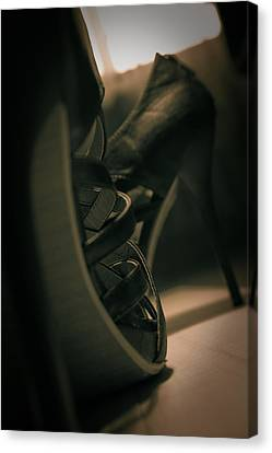 Brown High Heels Stylish Shoes Canvas Print