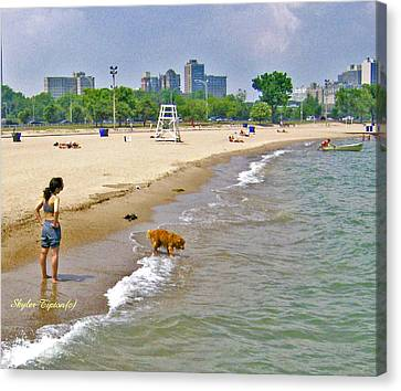 Brown Lab On The Lake Canvas Print