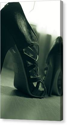 Brown Leather High Heel Shoes Canvas Print