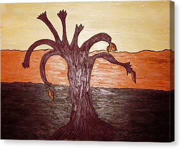 Brown Ochre Green Canvas Print