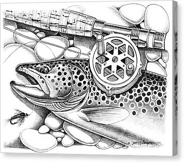 Brown Trout And Antique Reel Canvas Print