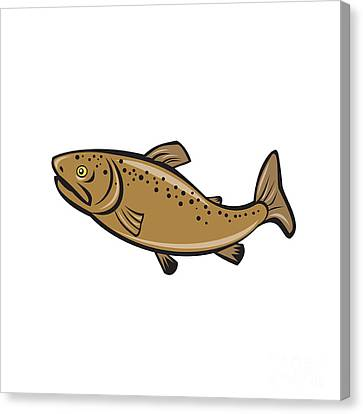 Brown Trout Fish Side Cartoon Canvas Print