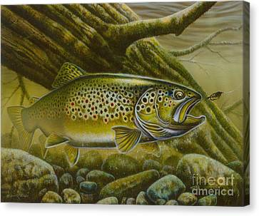 Brown Trout Log Canvas Print