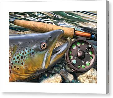 Salmon Canvas Print - Brown Trout Sunset by Craig Tinder