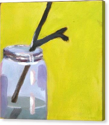 Water Jars Canvas Print - Brown Twig Mason Jar by Molly Fisk