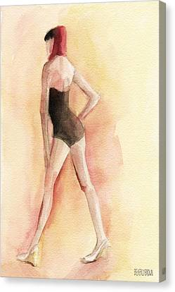 Brown Tones Canvas Print - Brown Vintage Bathing Suit 1 Fashion Illustration Art Print by Beverly Brown Prints