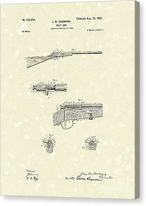 Browning Bolt Gun 1899 Patent Art Canvas Print by Prior Art Design