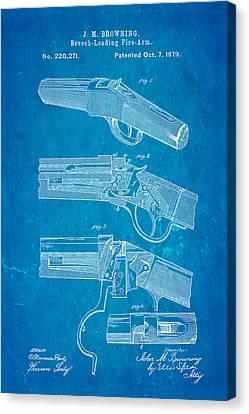 Browning Breech Loader Patent Art 1879 Blueprint Canvas Print by Ian Monk