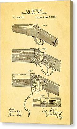 Loader Canvas Print - Browning Breech Loader Patent Art 1879 by Ian Monk