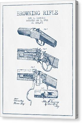 Browning Rifle Patent Drawing From 1921 -  Blue Ink Canvas Print by Aged Pixel
